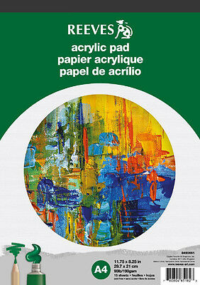 Reeves Artists Acrylic Paper Pad - 190gsm - 15 Sheets - A4