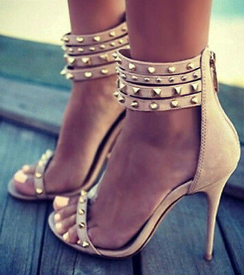 Nude Strappy Studded Open Toe Heels, US 7.5 - 10