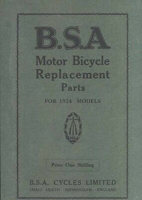 BSa parts Book 1924 all models Fully Illustrated