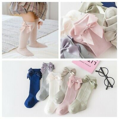 Girls Toddlers Kids Children Ribbon Bow Knee High School Socks 9 months -8 years