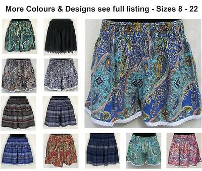 LADIES SHORTS Printed Design Womens Size 8 10 12 14 16 18 20 22 Plus Lace Trim