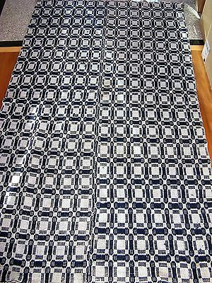 19thc rustic Antique Hand WOVEN WOOL JACQUARD COVERLET Indigo Blue White Pieced