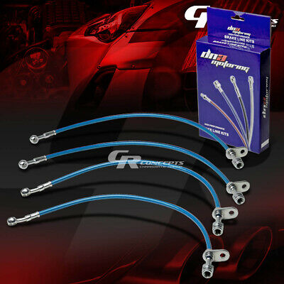 High Performance Stainless Steel Braided Brake Line/hose For 97-01 Prelude Blue