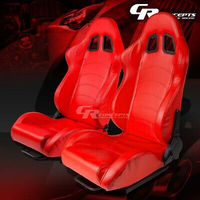 Red Pvc Leather Reclinable Sports Racing Seats+Mounting Slider Rails Left+Right