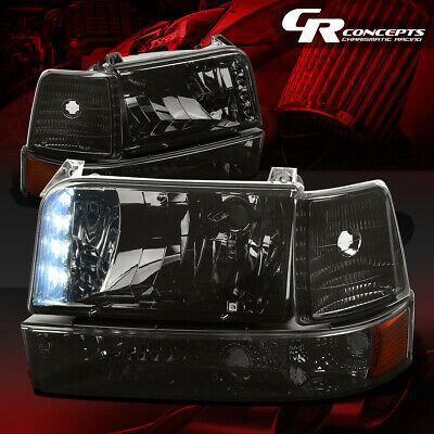 Smoked Led Drl Headlight+Bumper Lamps+Amber Corner Lh+Rh For 92-96 Ford F150-350