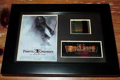 L@@k! Pirates Of Caribbean Jack Sparrow Movie Film Cell Framed Coa At Worlds End