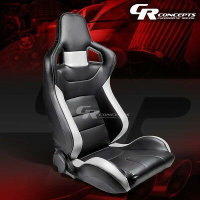 1 X Pvc Leather High-Head Sports Racing Seats+Mounting Sliders Passenger Side