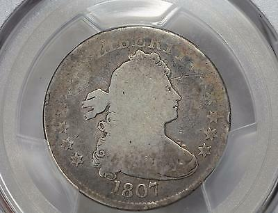 1807 DRAPED BUST QUARTER 25c PCGS GENUINE AG DETAILS