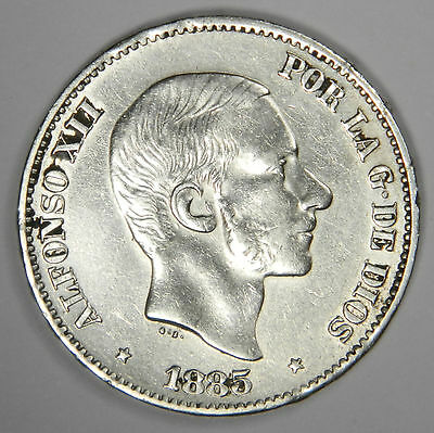 1885 Philippines 50 Centimos - Nice Bold Au About Uncirculated Priced Right!
