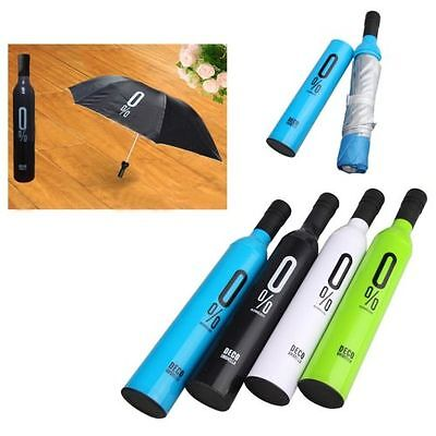 Foldable Folding Compact Windproof Anti-UV Rain Sun Umbrella Wine Bottle Shaped