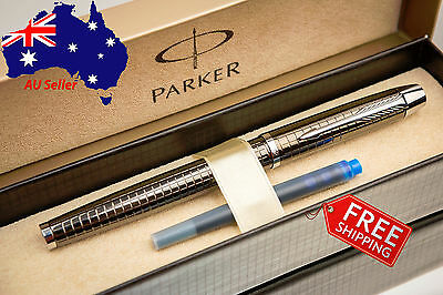 PARKER IM Premium Chiselled Grey Chrome Fountain Pen - Box+Refill