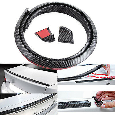 Car Rear Roof Trunk Spoiler Wing Lip Sticker Carbon Fiber PU Kit 4.9ft Universal