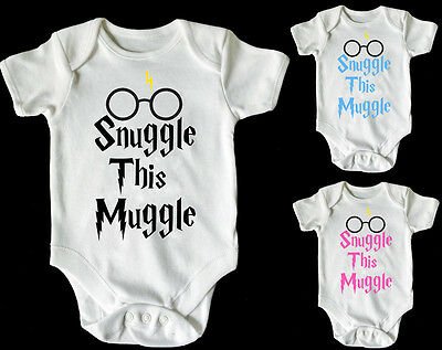SNUGGLE THIS MUGGLE with glasses HARRY POTTER BABY VEST/ GROW WHITE PINK BLUE
