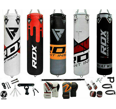 RDX Punching Bag 17pc Boxing Punch Chains Unfilled MMA Gloves Set Training Kick