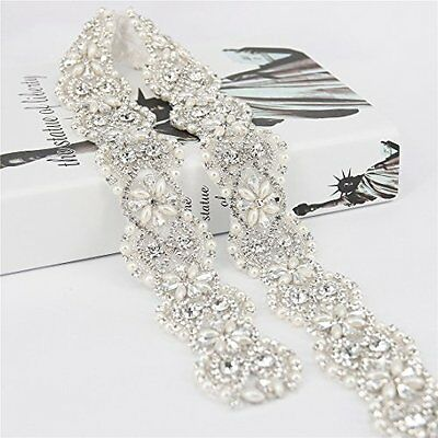 1 Yard Vintage Crystal Wedding Rhinestone Pearl Trim Applique for Bridal Sash