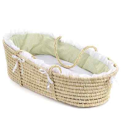 Natural Moses Basket with Gingham Bedding Machine Washable Bedding, Sage, New