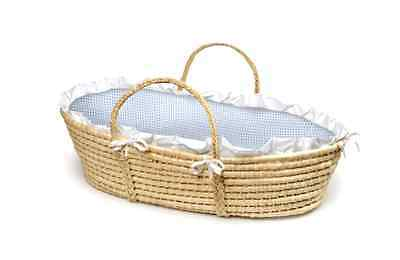 Natural Moses Basket with Gingham Bedding Machine Washable Bedding, Blue Gingham