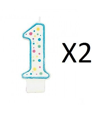 "Wilton Number 1 Numeral Candle Cake Blue Trim & Polka Dots 3x1.5x0.5"" (2-Pack)"