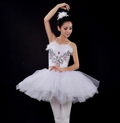 Adult Gymnastics Professional Swan Lake Tutu White Ballet Costume Hard Dancewear