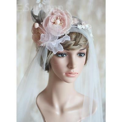 White Wedding Bridal Veil with Butterfly Flower Headband Hairband Headpiece