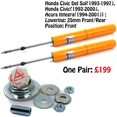 1 Pair Koni Yellow Shocks Civic Del Sol 1993-1997 Civic 1992-2000 80411152SPORT