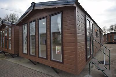 NEW Sunrise Lodge   40x13 Mobile Annexe   2 bed Static Log Cabin For Sale