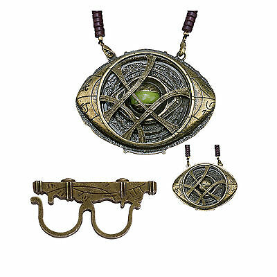 Dr Strange Ring & Necklace Eye of Agamotto Glow in the Dark Pendant Cosplay Prop