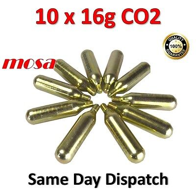 10 x MOSA 16g CO2  Cartridge Bike Tyre Bicycle Inflator Pump Food Grade Capsules