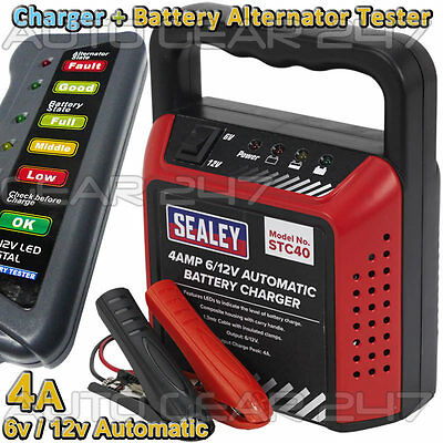 Sealey Automatic 6v/12v 4 Amp Car Bike Van Battery Charger + Alternator Tester