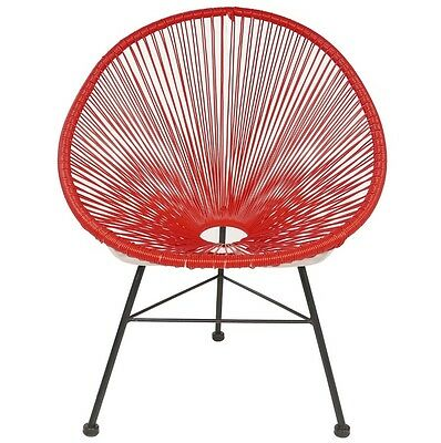 Mayan Hammock Acapulco Patio Lounge Chair Red with Black Legs PoliVaz Lounger