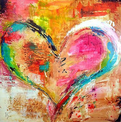 "Canvas Painting Abstract Print WaterColour Heart Modern Art Picture 24""x24"""