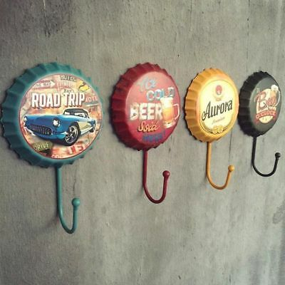 Retro Metal Sign Tin Beer Bottle Cap Cover Hook Pub Bar Club Cafe Home Wall Deco
