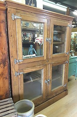 Large Antique 1900's McCray Oak Ice Box, 4 doors, refinished, original hardware