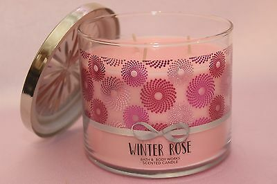 New 1 Winter Rose Bath & Body Works 3-Wick Filled Scented Candle Large 14.5 Oz