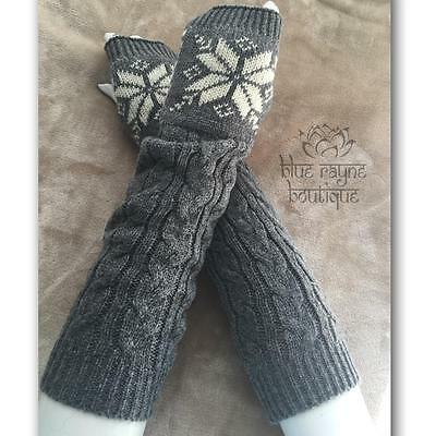 Soft Gray Snowflake Houndstooth Cable Knit Arm Warmers Fingerless Sweater Gloves
