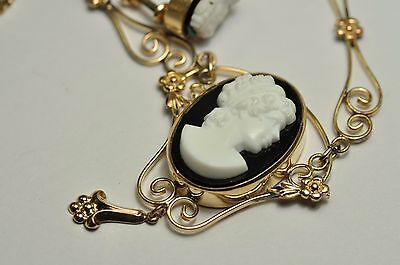 BeautifulVictorian 12k gold filled Face Cameo set of necklace/pendant/earring