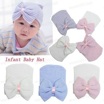 Unisex Baby Girls Infant  Striped Cap Hospital Newborn Warm Beanie Hat with Bow