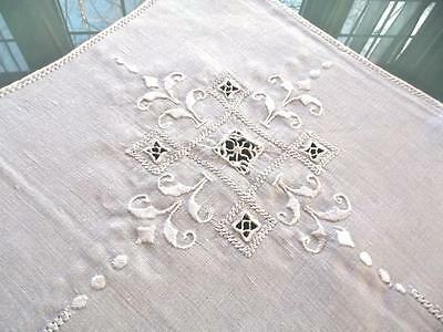 """Antique Italian Linen Embroidered Needle Lace 33"""" Centerpiece Card Table Cloth"""