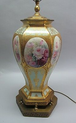 """Very Large & Fine 14.5"""" Hand-Painted ANTIQUE GERMAN VASE mounted as Lamp"""