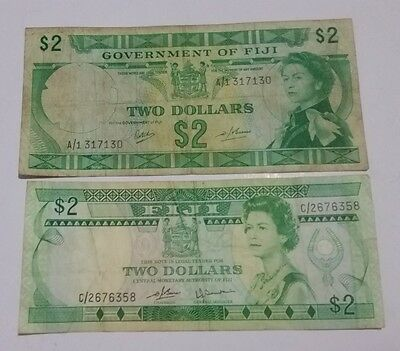 FIJI old $2 dollars paper notes 2 different types of older Pacific currency
