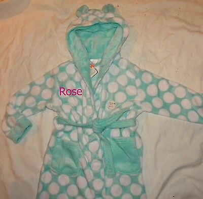 Personalised flleece mint green spot dressing gown age 7 -13 years with a name