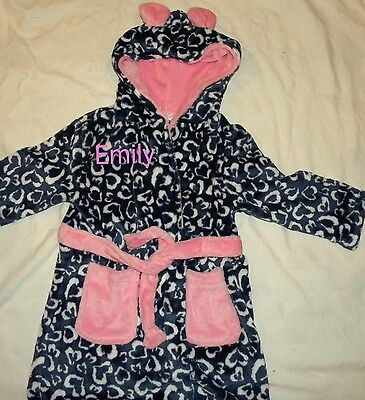 Personalised flleece navy/pink heart dressing gown age 2-6 years with a name