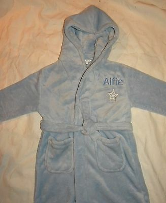 Personalised flleece pale blue dressing gown age 2-6 years with a name