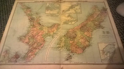 Old Colour Map  New Zealand North South Islands  (143-144) Undated