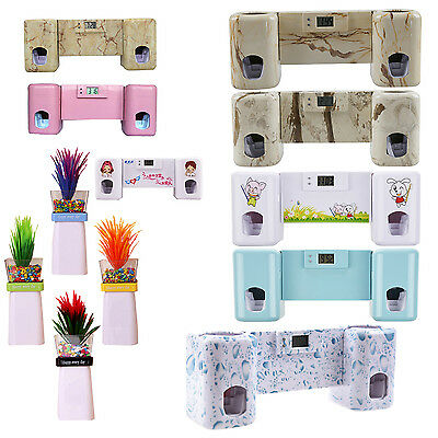 Automatic Toothpaste Dispenser + Toothbrush Holder Set Wall Mount Rack Bath F6