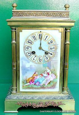 Antique French Japy Freres Hand Painted Porcelain Dail 8 Day Mantle Clock