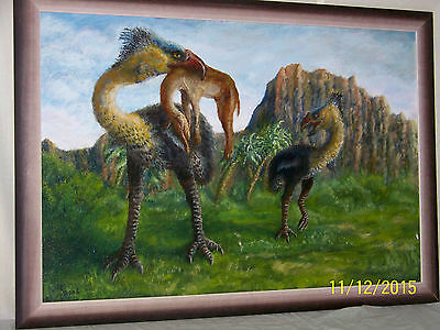 "Jim Rowley Listed Artist ""Giant Prehistoric Birds of Prey"" Original Oil On Panel"