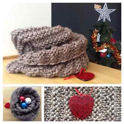 Very warm, soft and light hand-knitted scarf snood