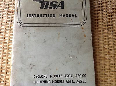 Instruction Book For 1965 BSA Lightning Motor cycle
