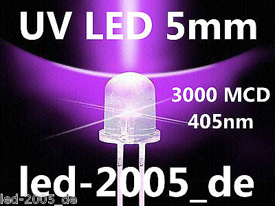 50 x UV LED 5mm,3000 mcd,405nm,LED UV 5mm,LED 5mm Ultraviolet,